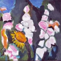 Malven und Sonnenblume 40x40, 2012