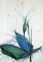 blaue Blume, Acryl auf Papier, 40x60cm, 2000