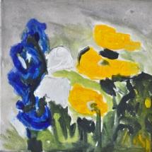 gelber Mohn und Iris 20x20