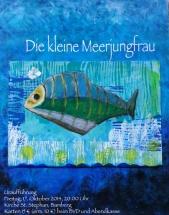 Collage kleine Meerjungfrau, Acryl auf Malkarton, 40cm x 60cm, 2014