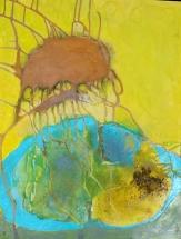 gelbe Qualle, Acryl auf Leinwand, Mischtechnik, 50cm x 64cm, November 2017