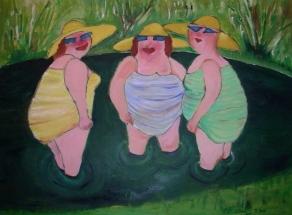 drei Grazien, Acryl auf Leinwand, Gemeinschaftsarbeit mit Jörg Treiber, 2008